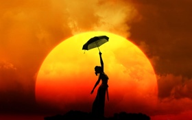 Картинка девушка, солнце, закат, зонт, платье