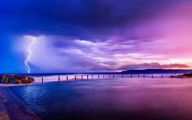 Картинка Nature, Clouds, Sky, Purple, Lightning, Water, Beauty