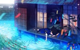 Картинка вода, рыбки, дом, растение, аниме, мальчик, арт