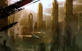 Обои город, человек, корабли, арт, разруха, руины, мегаполис