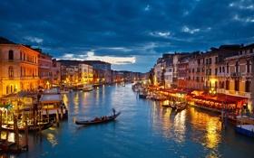 Обои Italy, Венеция, night, канал, гондола, lights, город