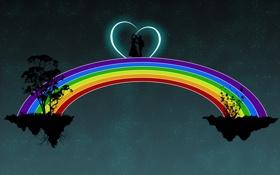 Обои корни, пара, танец, деревья, сердце, звёзды, двоих