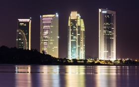 Картинка ночь, город, огни, река, небоскребы