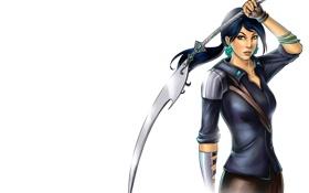 Картинка девушка, меч, арт, белый фон