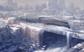 Картинка катастрофа, Сквозь снег, фантастика, концепт-арт, город, Snowpiercer, арт