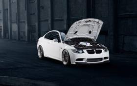 Картинка бмв, BMW, белая, white, front, E92, открытый капот