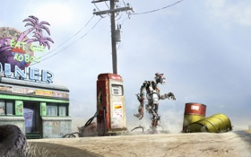 Обои дорога, робот, заправка, столб, покрышки, бочки, забегаловка
