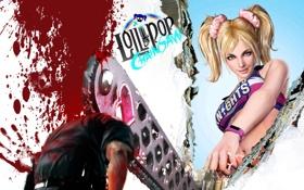 Обои девушка, кровь, болельщица, блондинка, зомби, хвостики, Lollipop Chainsaw