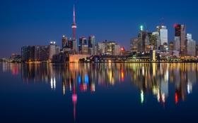Обои вода, огни, дома, вечер, Канада, City, Онтарио