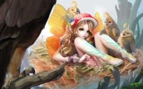 Обои птицы, ветки, крылья, фея, арт, гнездо, девочка