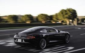 Картинка дорога, разметка, чёрный, Aston Martin, скорость, размытие, Астон