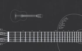 Обои гитара, чертеж, гриф, аккорды