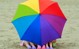 Обои девочки, ноги, лето, пляж, цветной, зонт, природа