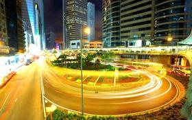 Картинка машины, ночь, город, огни, движение, здания, поворот