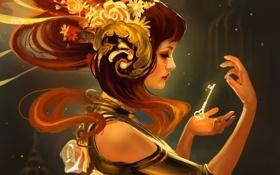 Обои девушка, цветы, фантастика, волосы, руки, ключ, арт