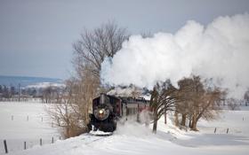 Картинка зима, паровоз, железная дорога