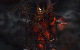 Картинка пламя, доспехи, символы, воин, коса, Warhammer, Vuor Saddat