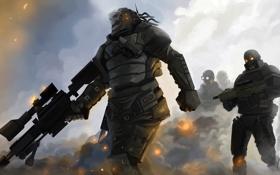 Картинка туман, пистолет, оружие, дым, войны, арт, автомат
