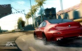 Картинка дорога, брызги, город, гонка, bmw m6, Need for Speed Undercover
