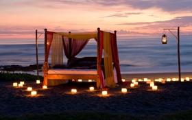 Картинка пляж, океан, романтика, вечер, свечи