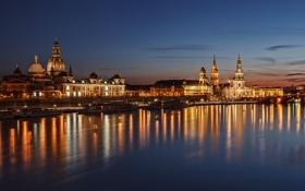 Картинка Эльба, Дрезден, река, дома, ночь, Германия, огни