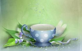Обои листья, фантазия, чашка, фон, лента, лепестки, рисунок