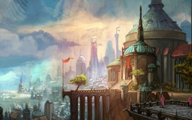 Обои море, деревья, пейзаж, город, люди, арт, League Of Legends