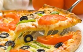 Картинка сыр, пицца, помидоры, оливки, чеснок
