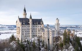 Картинка зима, небо, облака, снег, деревья, горы, замок