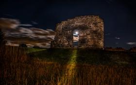 Картинка ночь, луна, развалины, арка