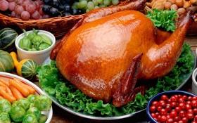 Обои зелень, ягоды, блеск, курица, пища, тарелки, перец