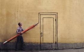 Обои стена, дверь, карандаш, парень