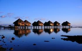 Обои море, тропики, побережье, домики, tropics, the sea coast, the houses