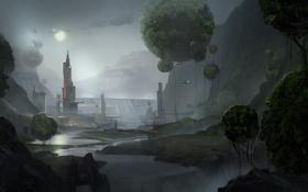 Обои город, шары, корабль, арт, фантастический мир