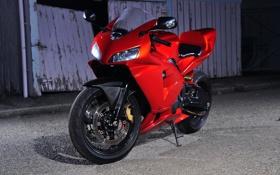 Обои красный, тень, ограждение, мотоцикл, red, суперспорт, honda