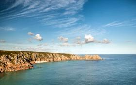 Обои Porthcurno, пейзаж, побережье, England, море