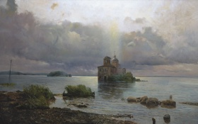 Обои картина, Афонин, Голгофа русского севера