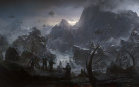 Картинка войны, монстры, солдаты, gears of war 3