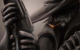 Картинка рисунок, шляпа, сигарета, ковбой, плащ, патроны, винчестер