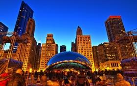 Обои здания, вечер, огни, чикаго, высотки, Chicago, америка