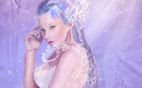 Картинка девушка, цветы, белое, рука, платье, арт