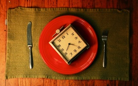 Картинка часы, нож, вилка