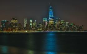 Обои небо, ночь, огни, дома, нью-йорк, сша