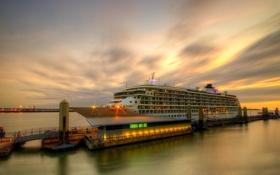 Обои закат, город, порт, Liverpool, The World