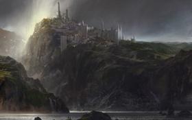 Обои море, замок, красиво