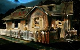Обои дом, забор, арт, house, help