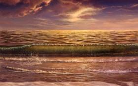 Обои море, волны, природа, арт, masterBo