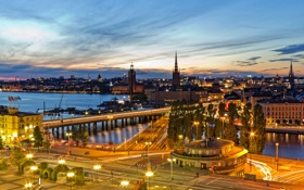 Обои небо, огни, дороги, дома, вечер, Стокгольм, Швеция