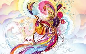 Картинка цветы, узор, перья