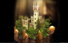 Картинка свет, замок, рука, the fantasy kingdom sim, majesty2